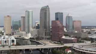 DX0003_229_008 - 5.7K stock footage aerial video a view of skyscrapers while descending, Downtown Tampa, Florida