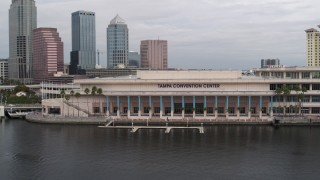 DX0003_229_011 - 5.7K stock footage aerial video circling the Tampa Convention Center, Downtown Tampa, Florida