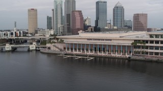DX0003_229_012 - 5.7K stock footage aerial video of the Tampa Convention Center, Downtown Tampa, Florida