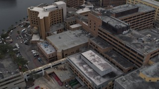 DX0003_229_022 - 5.7K stock footage aerial video orbit part of the hospital complex in Tampa, Florida
