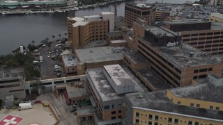 DX0003_229_023 - 5.7K stock footage aerial video of an orbit of part of the hospital complex in Tampa, Florida