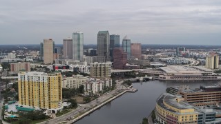 DX0003_229_033 - 5.7K stock footage aerial video fly over bridges toward skyline, Downtown Tampa, Florida
