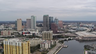 DX0003_229_039 - 5.7K stock footage aerial video fly away from the city skyline, Downtown Tampa, Florida