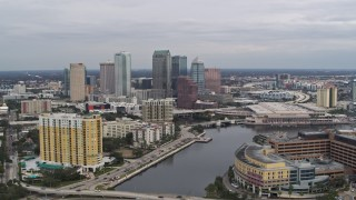DX0003_229_041 - 5.7K stock footage aerial video of flying by the city skyline, seen from the hospital, Downtown Tampa, Florida