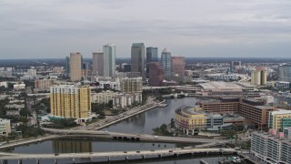 DX0003_229_042 - 5.7K stock footage aerial video of flying by the hospital while focused on skyline, Downtown Tampa, Florida