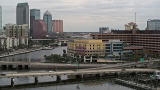 DX0003_230_002 - 5.7K stock footage aerial video orbit a waterfront hospital in Tampa, Florida