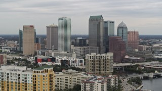 DX0003_230_011 - 5.7K stock footage aerial video of slowly passing the downtown skyline, Downtown Tampa, Florida