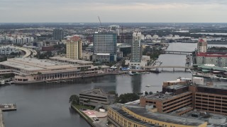 DX0003_230_013 - 5.7K stock footage aerial video of a view of the waterfront convention center and hotels in Downtown Tampa, Florida