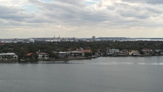 DX0003_230_015 - 5.7K stock footage aerial video flyby and approach waterfront mansions in Tampa, Florida