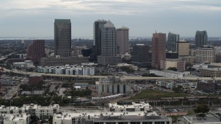 DX0003_230_023 - 5.7K stock footage aerial video of flying by the downtown skyline, Downtown Tampa, Florida