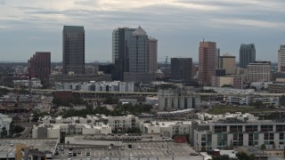 DX0003_230_028 - 5.7K stock footage aerial video approach and flyby skyline, Downtown Tampa, Florida