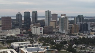 DX0003_230_037 - 5.7K stock footage aerial video slowly flying by the downtown skyline, Downtown Tampa, Florida