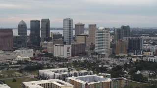 DX0003_230_038 - 5.7K stock footage aerial video slowly flying by the city's skyline, Downtown Tampa, Florida