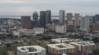 DX0003_230_040 - 5.7K stock footage aerial video of a view of skyscrapers in the city's skyline, Downtown Tampa, Florida
