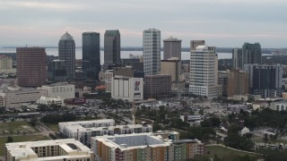 DX0003_230_041 - 5.7K stock footage aerial video of a view of tall skyscrapers in the city's skyline, Downtown Tampa, Florida