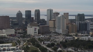DX0003_230_045 - 5.7K stock footage aerial video a stationary view of tall skyscrapers in the city's skyline, Downtown Tampa, Florida