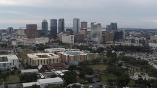 DX0003_231_004 - 5.7K stock footage aerial video a wide view of skyscrapers in the city's skyline, Downtown Tampa, Florida