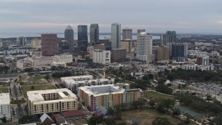 DX0003_231_011 - 5.7K stock footage aerial video a wide view of passing skyscrapers in the city's skyline, Downtown Tampa, Florida