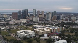 DX0003_231_012 - 5.7K stock footage aerial video a wide view passing skyscrapers in the city's skyline, Downtown Tampa, Florida
