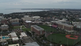 DX0003_231_021 - 5.7K stock footage aerial video of approaching the University of Tampa campus, Florida