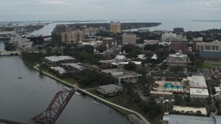 DX0003_231_026 - 5.7K stock footage aerial video ascend away from the University of Tampa campus and river, Florida