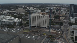 DX0003_231_032 - 5.7K stock footage aerial video of circling the Times Building in Downtown Tampa, Florida
