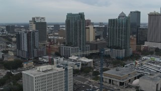DX0003_231_034 - 5.7K stock footage aerial video orbit high-rises in Downtown Tampa, Florida