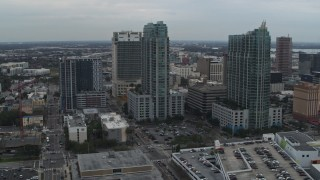 DX0003_231_035 - 5.7K stock footage aerial video a pair of high-rise buildings in Downtown Tampa, Florida