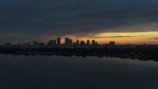 DX0003_231_045 - 5.7K stock footage aerial video of the Downtown Tampa skyline, Florida at sunset