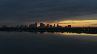 DX0003_231_046 - 5.7K stock footage aerial video of the Downtown Tampa skyline at sunset, Florida