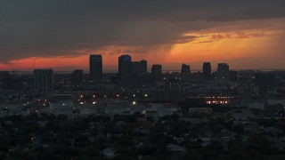 DX0003_232_003 - 5.7K stock footage aerial video slowly flying away from the Downtown Tampa skyline at twilight, Florida