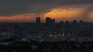 DX0003_232_006 - 5.7K stock footage aerial video fly away from and past the Downtown Tampa skyline at twilight, Florida