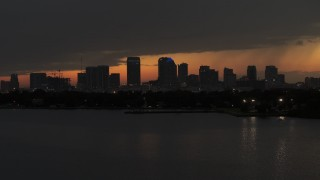 DX0003_232_022 - 5.7K stock footage aerial video stationary view of skyscrapers in the Downtown Tampa skyline at twilight, Florida