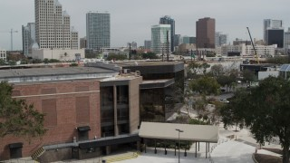 DX0003_233_039 - 5.7K stock footage aerial video a stationary view of the side of the Bob Carr Theater in Orlando, Florida