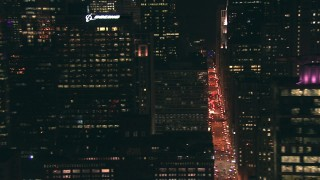 ED0001_000065 - HD stock footage aerial video flyby city streets and skyscrapers at nighttime in Downtown Chicago, Illinois