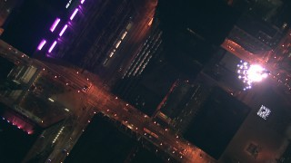 ED01_112 - HD stock footage aerial video of a view of wide city streets at nighttime, Downtown Chicago, Illinois