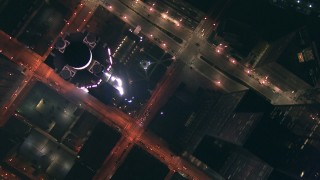 ED01_113 - HD stock footage aerial video of bird's eye of wide streets through the city at night, Downtown Chicago, Illinois
