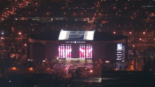 ED01_116 - HD stock footage aerial video flyby the United Center arena at night in West Side Chicago, Illinois