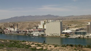 FG0001_000003 - 4K stock footage aerial video of Colorado Belle Resort and Edgewater Hotel on the Colorado River in Laughlin, Nevada