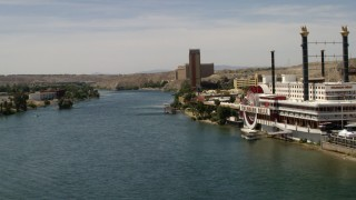 FG0001_000005 - 4K stock footage aerial video of passing resort casinos on the Colorado River in Laughlin, Nevada