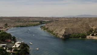 FG0001_000007 - 4K stock footage aerial video of speed boat and docks on the Colorado River in Laughlin, Nevada