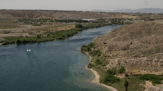 FG0001_000008 - 4K stock footage aerial video of a riverfront hotel beside the Colorado River in Bullhead City, Arizona