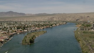 FG0001_000013 - 4K stock footage aerial video of waterfront homes on the Colorado River in Bullhead City, Arizona