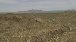 FG0001_000029 - 4K stock footage aerial video fly over the Dead Mountains Wilderness Area in the Mojave Desert on the border of Nevada and California
