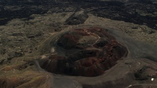 FG0001_000092 - 4K stock footage aerial video of passing the Pisgah Crater cinder cone in the Mojave Desert, San Bernardino County, California