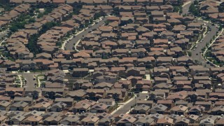 FG0001_000138 - 4K stock footage aerial video of suburban tract homes in Rancho Cucamonga, California