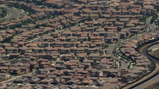 FG0001_000139 - 4K stock footage aerial video of rows of suburban tract homes in Rancho Cucamonga, California