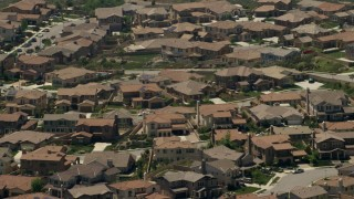 FG0001_000146 - 4K stock footage aerial video of a suburban residential neighborhood in Rancho Cucamonga, California