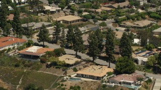 FG0001_000150 - 4K stock footage aerial video of upscale hillside homes in Pasadena, California