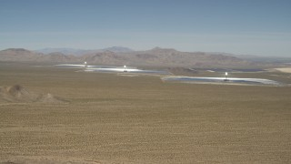 FG0001_000173 - 4K aerial stock footage video of passing the Ivanpah Solar Electric Generating System in California